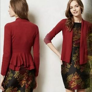Anthro ANGEL OF THE NORTH Coda Cardi Burgundy